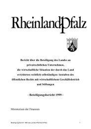 Beteiligungsbericht 1999 - Finanzministerium Rheinland-Pfalz