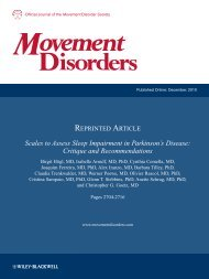 Scales to Assess Sleep Impairment in Parkinson's Disease: Critique ...