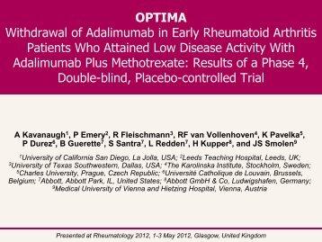 Withdrawal of Adalimumab in early rheumatoid arthritis patients