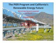 The PIER Program and California's Renewable Energy Future