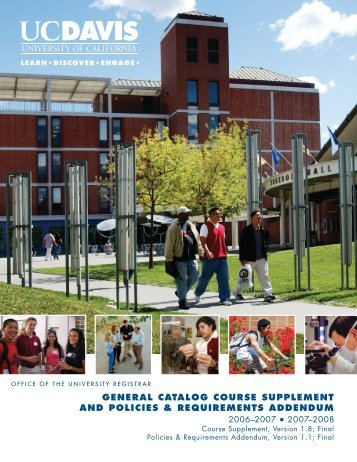 UC Davis 2006-2008 General Catalog Course Supplement and ...