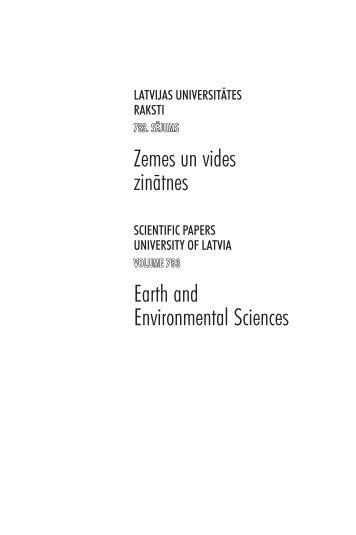 Zemes un vides zinātnes Earth and Environmental Sciences