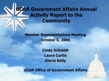 Cindy Schmidt, UCAR Office of Government Affairs