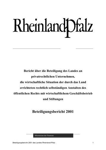 Beteiligungsbericht 2001 - Finanzministerium Rheinland-Pfalz