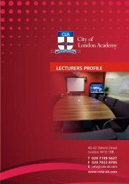 lecturers profile - City of London Academy