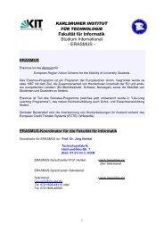 Fakultät für Informatik Studium International - ERASMUS - - CES - KIT