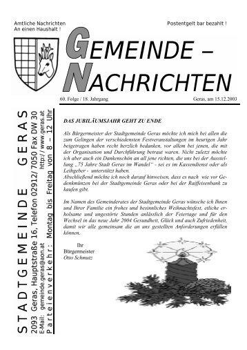 Gemeindenachrichten Dezember 2003 (383 kB) (0 bytes) - Geras
