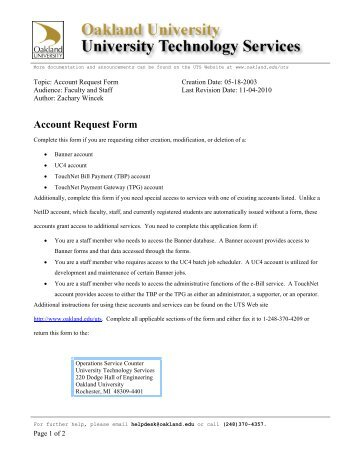 Account Request Form - Oakland University