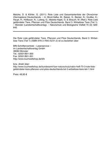 Rote Liste und Gesamtartenliste der Ohrwürmer - FMart