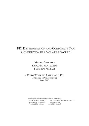 FDI Determination and Corporate Tax Competition in a - IEB