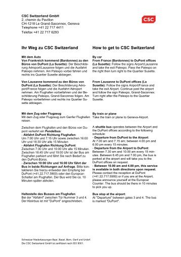 Ihr Weg zu CSC Switzerland How to get to CSC Switzerland
