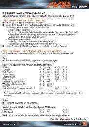 Spezialfahrplan - AAR bus+bahn