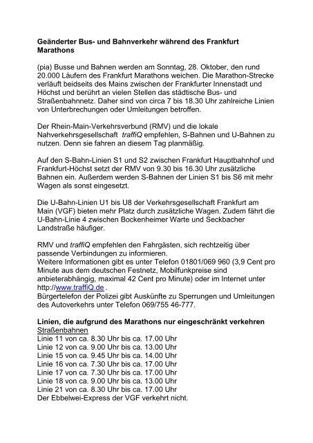 Geänderter Bus Und Bahnverkehr Während Des Frankfurt
