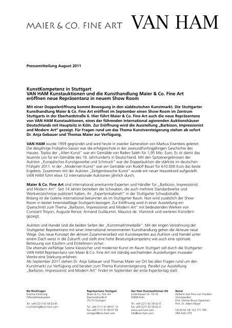 Pressemitteilung - VAN HAM Kunstauktionen