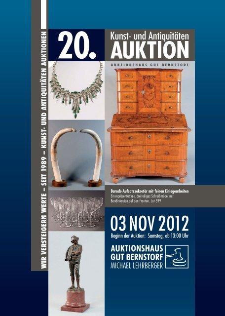 Beginn der Auktion: Samstag, ab 13:00 Uhr 03NOV2012