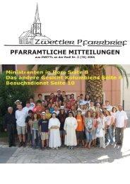 Neues vom Kirchenchor - Pfarre Zwettl an der Rodl