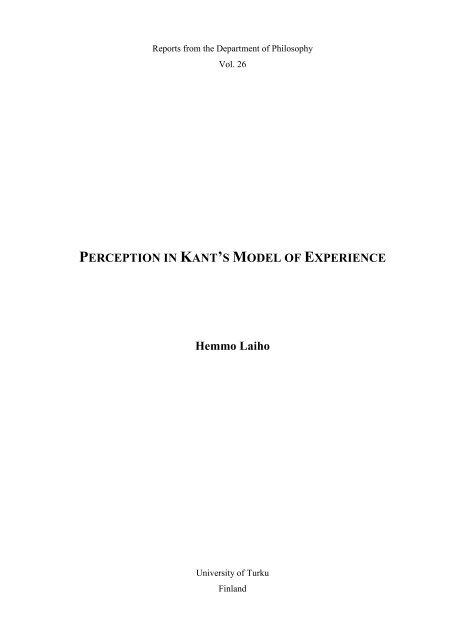 Perception In Kants Model Of Experience Hemmo Doria