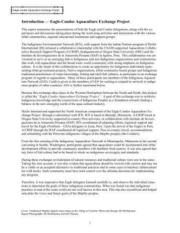 Introduction — Eagle-Condor Aquaculture Exchange Project