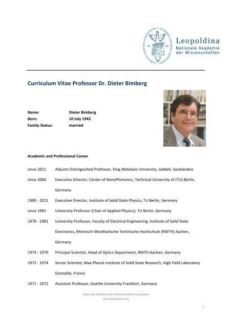 Curriculum Vitae Professor Dr Dieter Bimberg Leopoldina