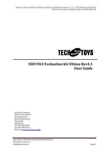 SSD1963 Evaluation Kit Ultima Rev4.1 User Guide - TechToys.com.hk