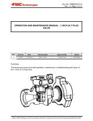 operation and maintenance manual - 1 inch ult plug valve