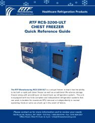 RTF RCS-3200-ULT CHEST FREEZER Quick Reference Guide