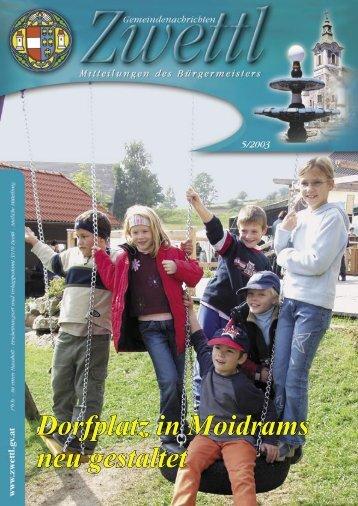 Gemeindenachrichten Zwettl 5/2003