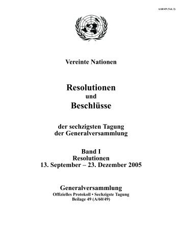 Resolutionen Beschlüsse - the United Nations