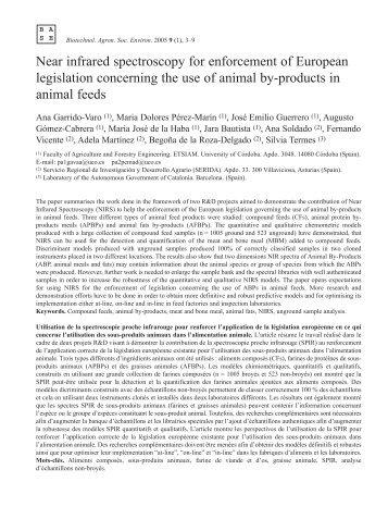 Near infrared spectroscopy for enforcement of European legislation ...