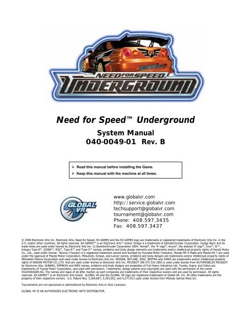 NEED FOR SPEED UNDERGROUND BASE PLATE 96-0094-00