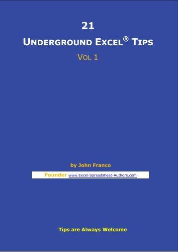 21 Underground excel Tips