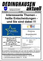 Interessante Themen - heiße Entscheidungen - und ... - Dedinghausen