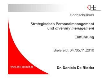 Daniela De Ridder, Einführung - Hochschulkurs