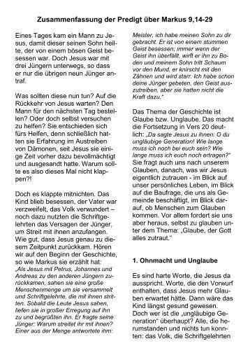 Glaube, der Gott alles zutraut (Mk 9,14-29)_2008 ... - FeG Dillenburg