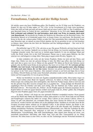Formalismus, Unglaube und der Heilige Israels