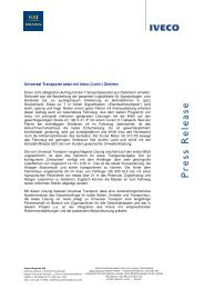 Universal Transporte setzt mit Iveco (Licht-) Zeichen