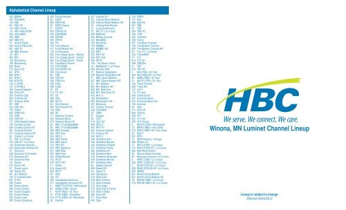 Winona, MN Luminet Channel Lineup
