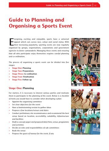 Guide to Planning and Organising a Sports Event - Sport Wanganui