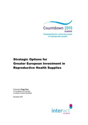 Strategic Options for Greater European Investment in Reproductive ...