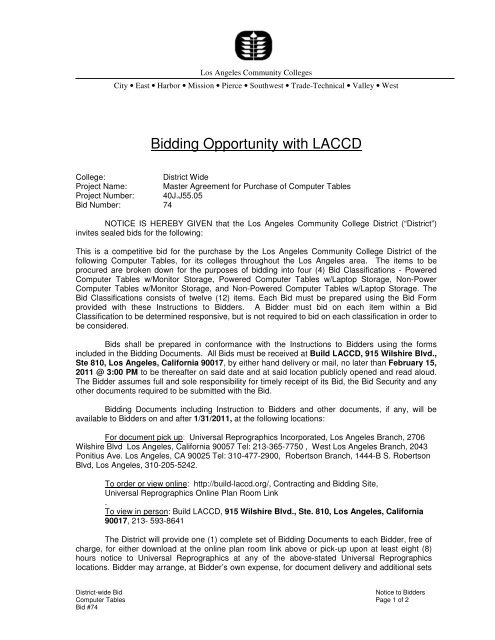 Bidding Opportunity with LACCD - Build-laccd org