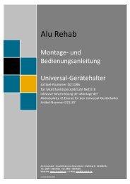 Montageanleitung Universal-Gerätehalter und ... - Alu Rehab