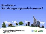 Sturzfluten und Regionalplanung - KlimaMORO