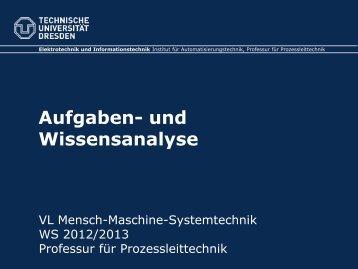 Aufgaben und Wissensanalyse - Fakultät Elektrotechnik und ...
