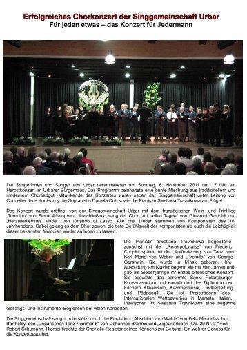 Erfolgreiches Chorkonzert der Singgemeinschaft Urbar Für jeden ...