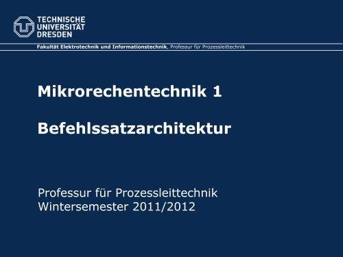 Befehlssatzarchitektur - Fakultät Elektrotechnik und ...