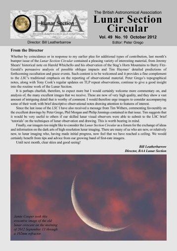 Vol 49, No 10, Oct 2012 - Lunar Section