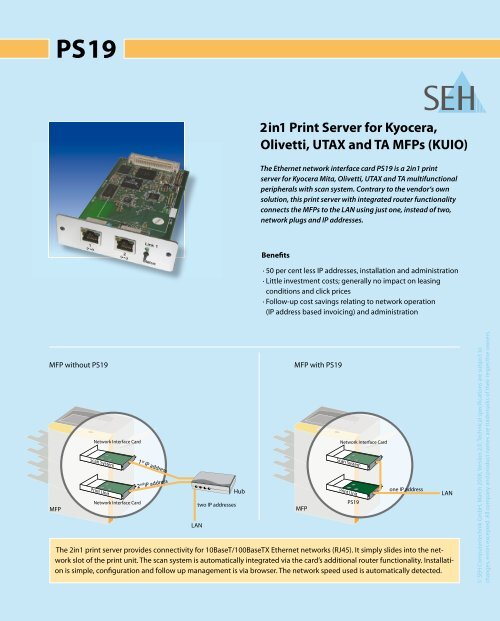2in1 Print Server for Kyocera, Olivetti, UtAX and tA MFPs
