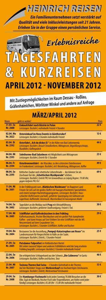 TAGESFAHrTEN & KurzrEiSEN - Heinrich GmbH