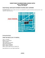 DIRECTIONS TO GREEKTOWN CASINO HOTEL VALET PARKING