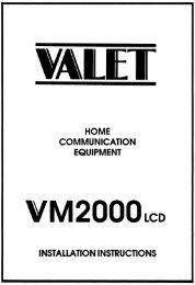 VM2000 Intercom INSTALLATION manual - Valet